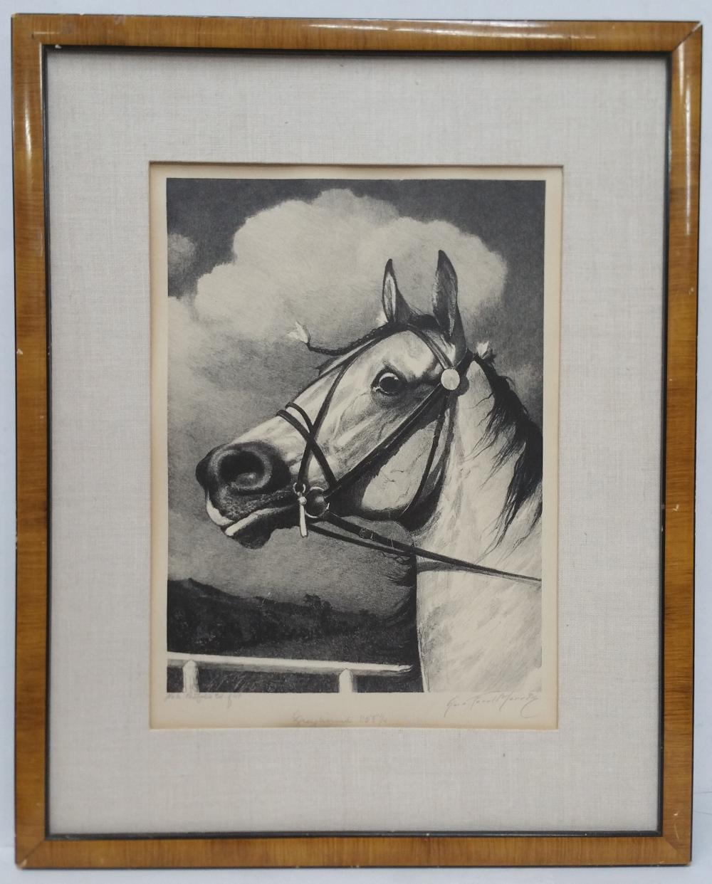 Signed George Ford Morris Lithograph Racehorse Named Greyhound Vintage Equestrian Horse Portrait
