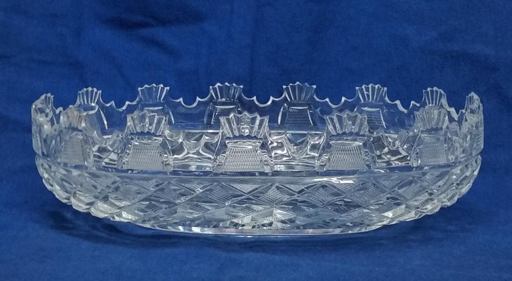 Waterford Huge Antique Oval Cut Glass Crystal Monteith Centerpiece Bowl 13.75in