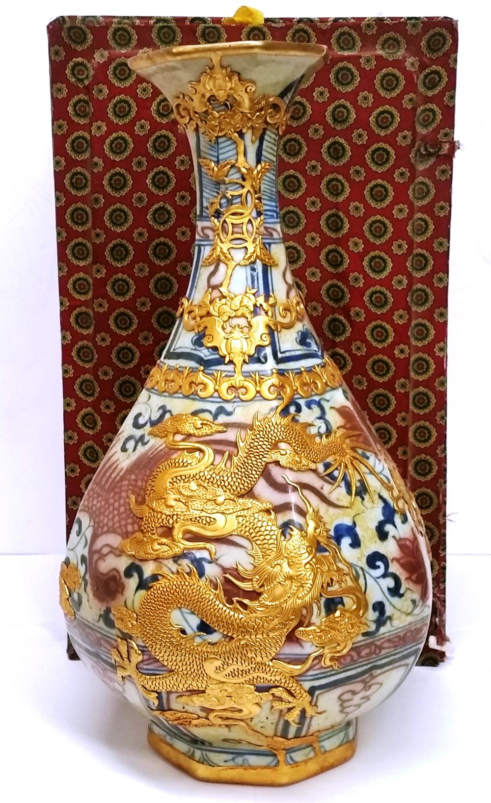 Antique Chinese Ming Qing Iron Red Blue White Porcelain Panel Vase Incredible Gilt Dragon Overlay Later Export Box
