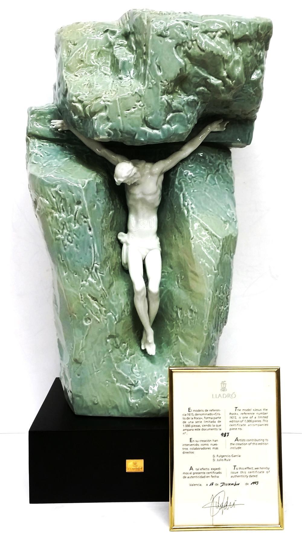 Vintage Lladro Jesus The Rock 1615 Limited Edition Porcelain Statue Base COA Box