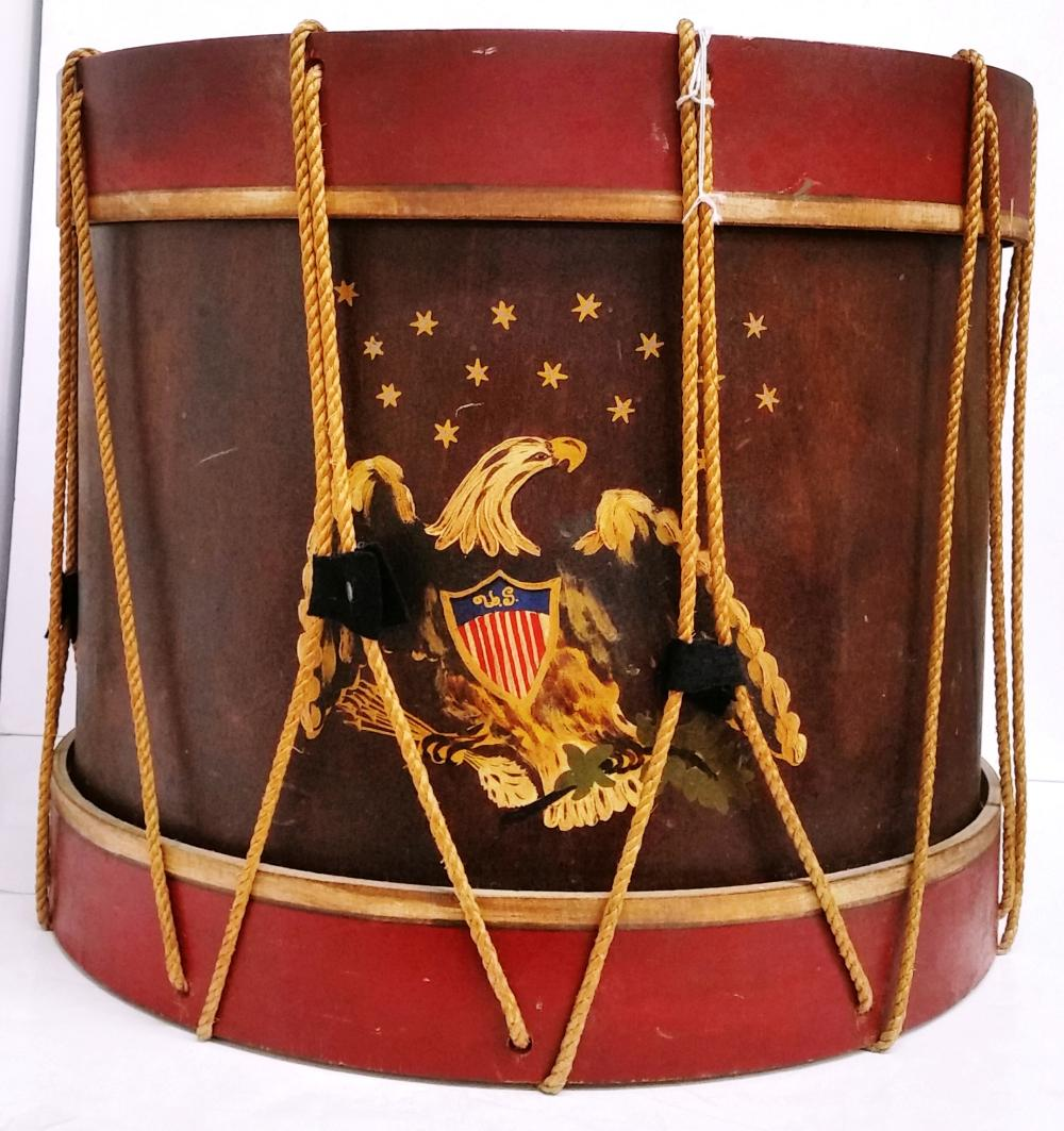 Vintage US United States Army Military Drum Side Table Eagle Hand Painted