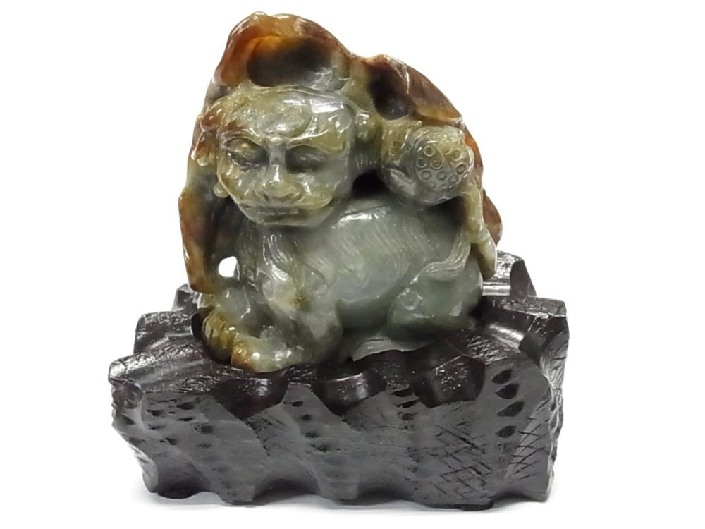 Antique Carved Jadeite Jade Chinese Foo Dog Lion Lotus Green to Rusty Brown w/ Wooden Base