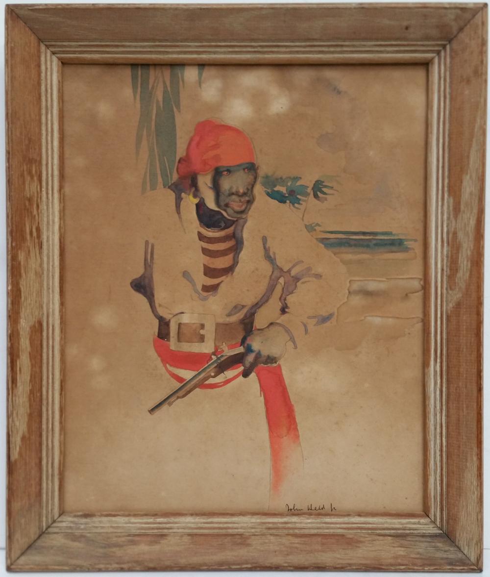 Legend Black Caesar Florida Pirate John Held Jr Watercolor Antique Painting