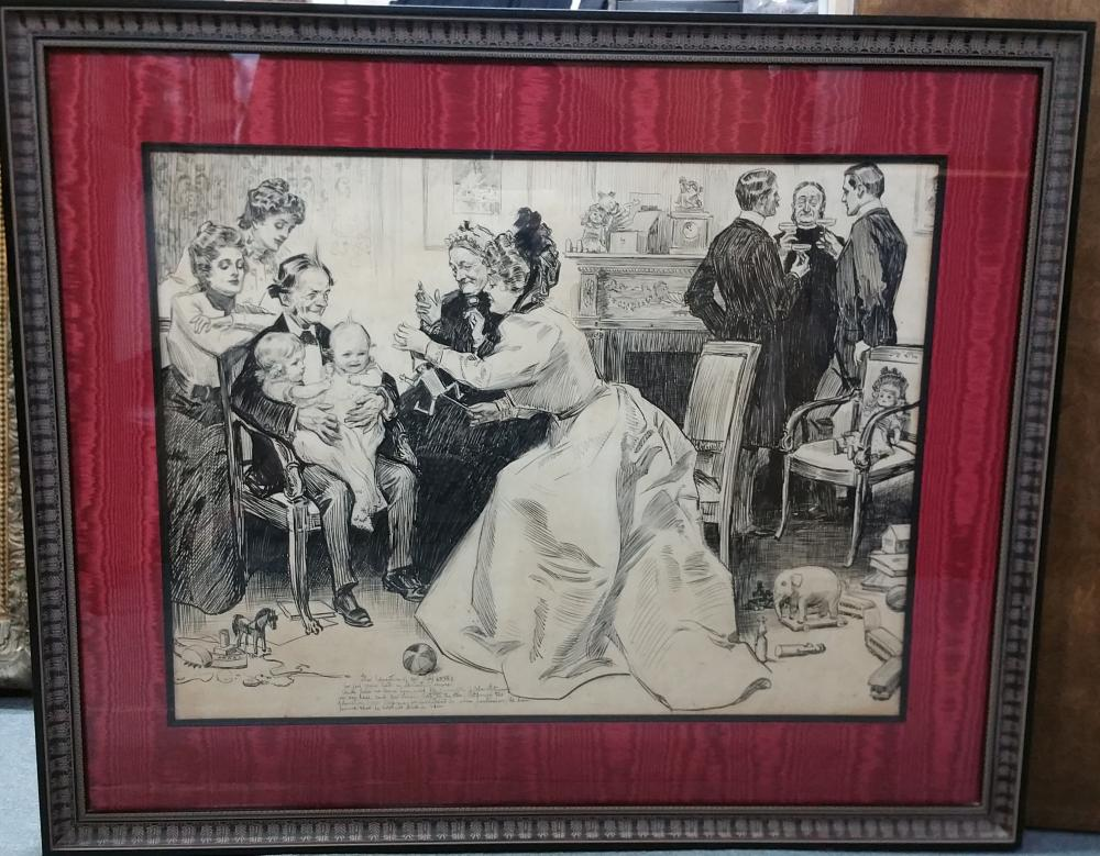 Original Large Antique Charles Dana Gibson Mr Pipp Story Finale Illustration Ink Drawing Gibson Girl Valentine Armour Wisconsin Mansion Provenance