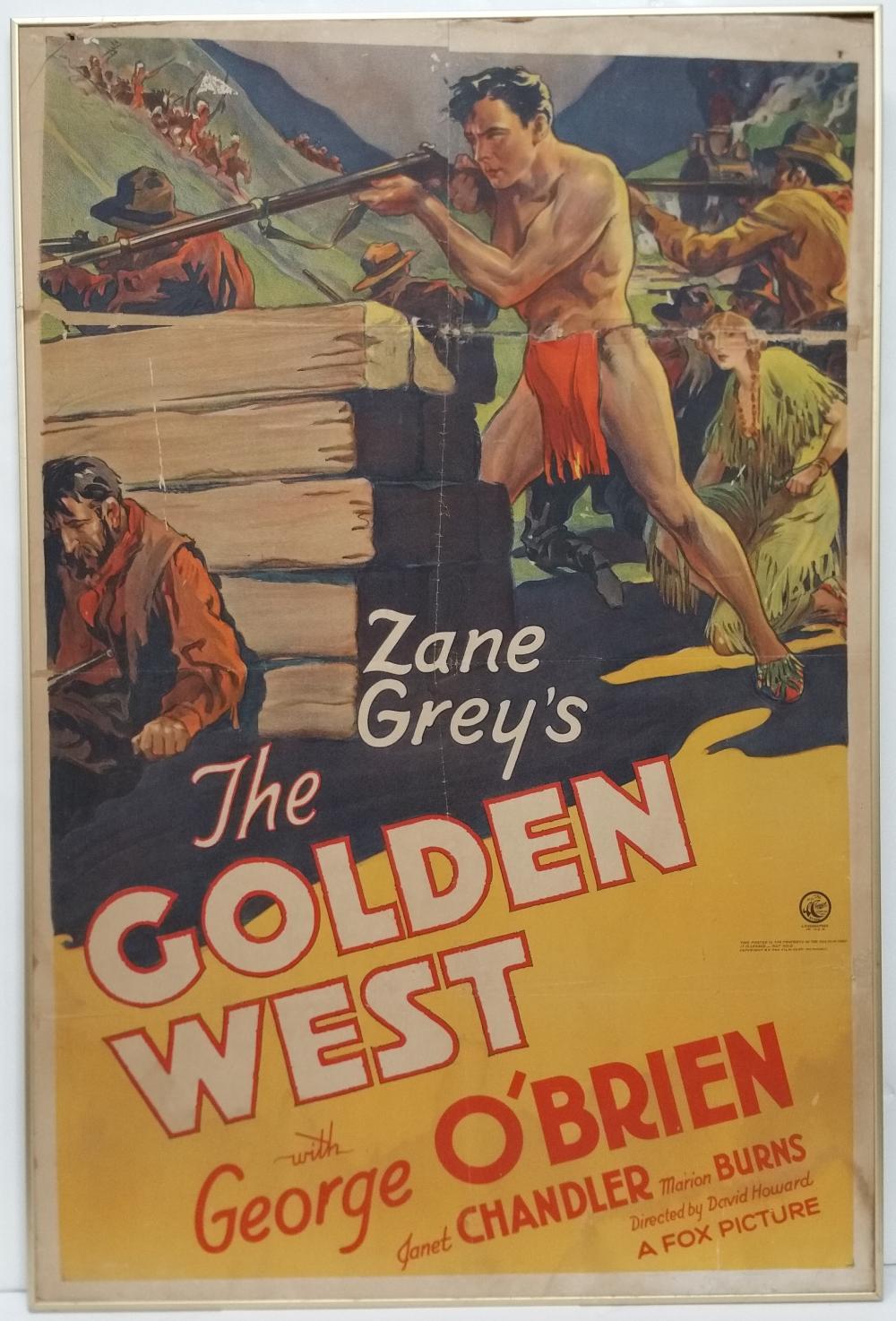 Original 1932 Golden West One Sheet Movie Poster Lithograph Estate Find David Howard Zane Grey George O'Brien Janet Chandler Marion Burns