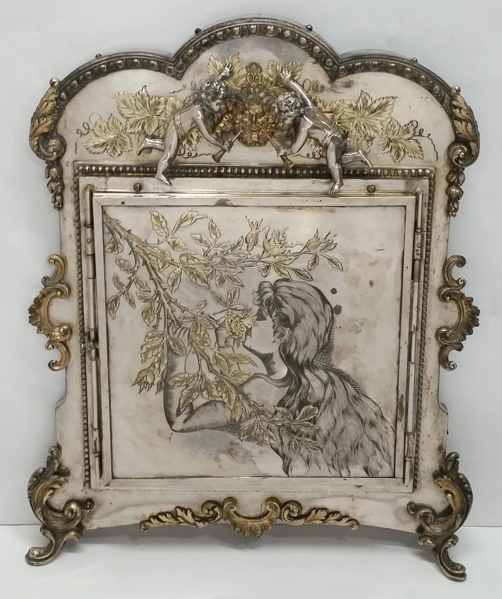 Antique 1890s Tri-Fold 3 Mirror Cherub Putti Lady Floral Art Nouveau Boudoir Vanity Mirror Heavy Silverplate