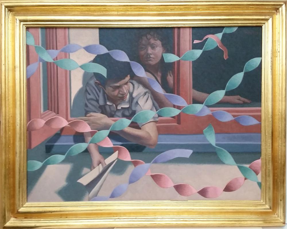 Large 2003 Original Edward Povey Welsh American Surrealist Parade Portrait Painting The Room Above with 2006