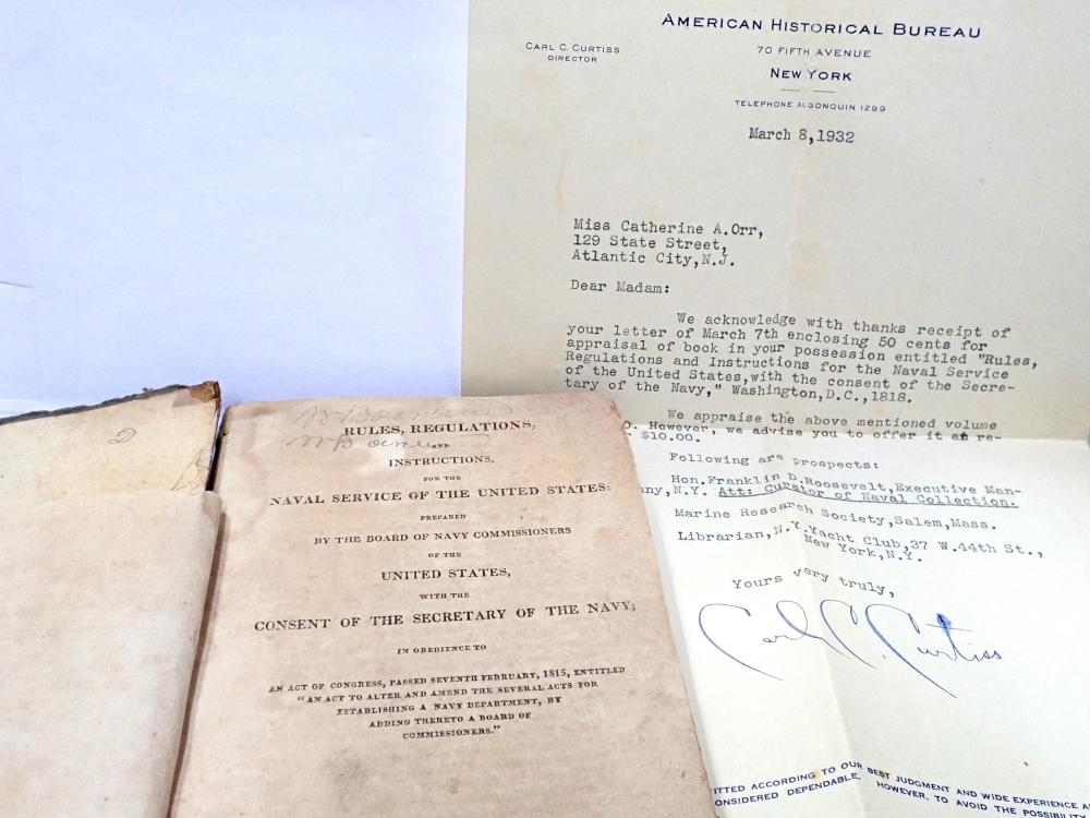 Rare Book 1818 US Navy Rules Regulations Washington City Printed by Dekrafft with Depression Era Research Appraisal Letter Referencing FDR Franklin Roosevelt at the Executive Mansion in Albany NY