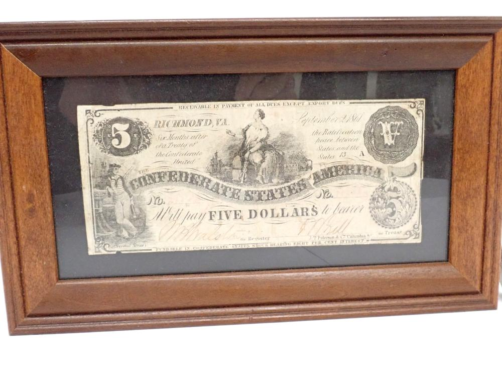 Framed 1861 $5 Confederate States of America Bank Note Richmond VA