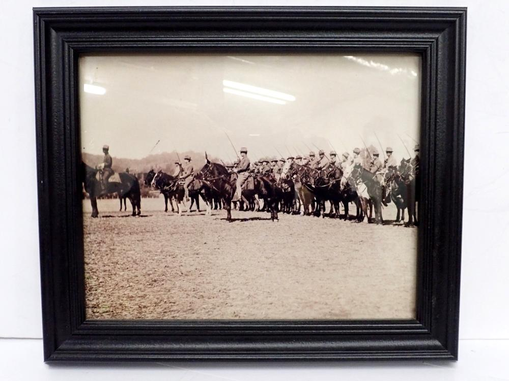 8x10 Framed Photo of Spanish American War Soldiers on Horses Ready for Battle