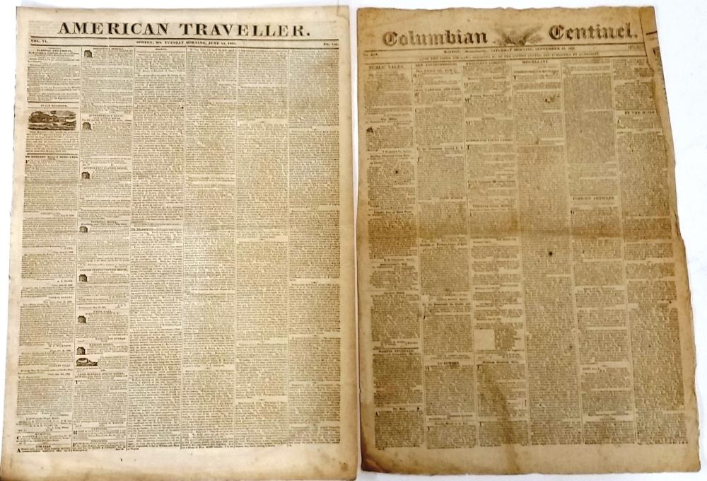 Antique Boston Newspapers Columbian Centinel 1823 American Traveller 1831
