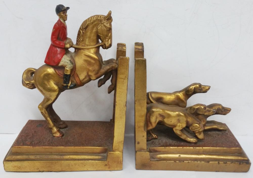 Signed D Martini Pair Equestrian Bookends 1937 Dog Horse Rider Gilt Metal Art Deco