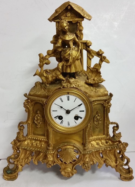 Important Antique Samuel Wehl Gilt Bronze Figural Mantel Clock St Petersburg