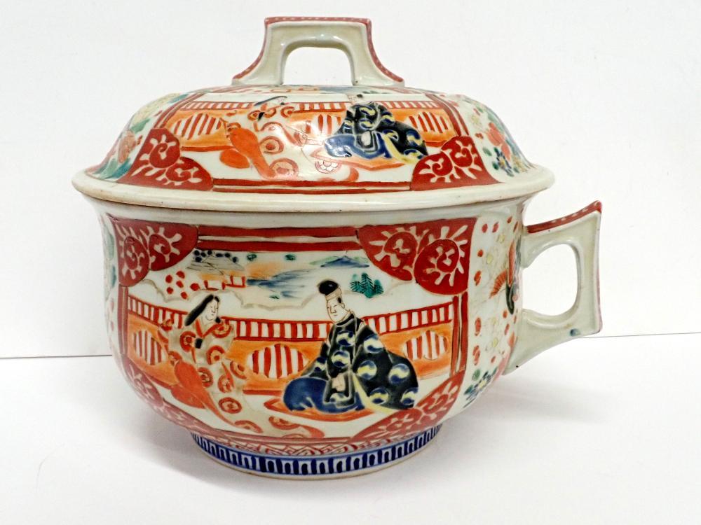 Large Late 19th c Antique Japanese Meiji Scenic Panel Lidded Porcelain Tureen