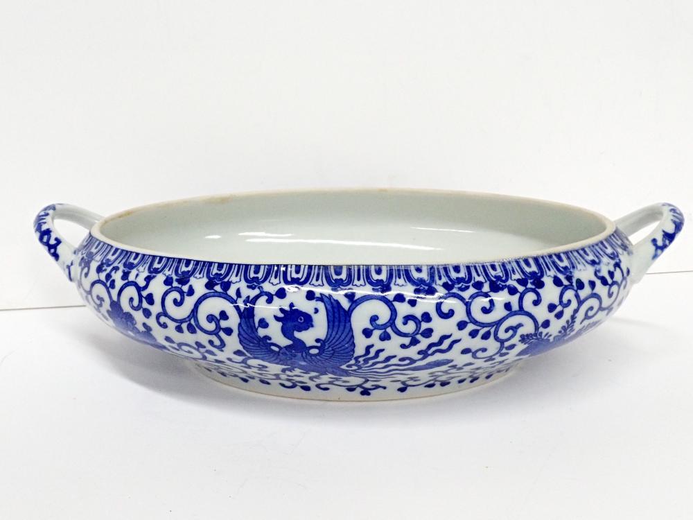 Large Antique Signed Japanese Blue White Porcelain Oval Serving Bowl