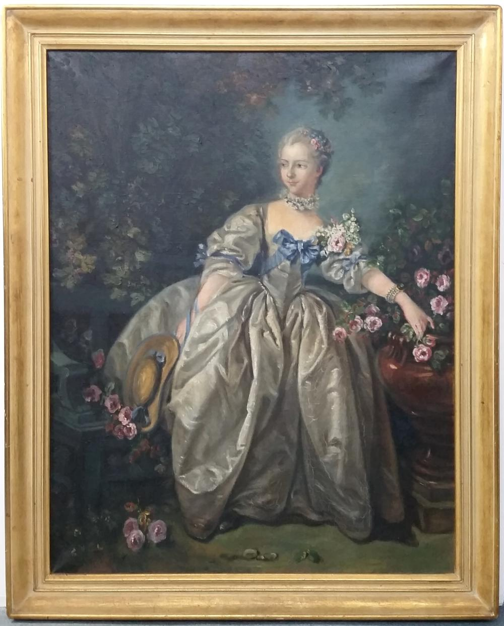 Painting Madame Bergeret by Thelma DeAtley after Boucher French Rococo Portrait