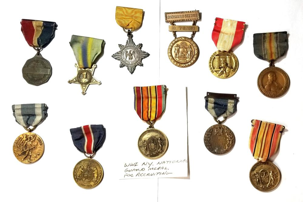 11pc WWI Great War United States National Guard Recruiting Honorable Service Military Medals