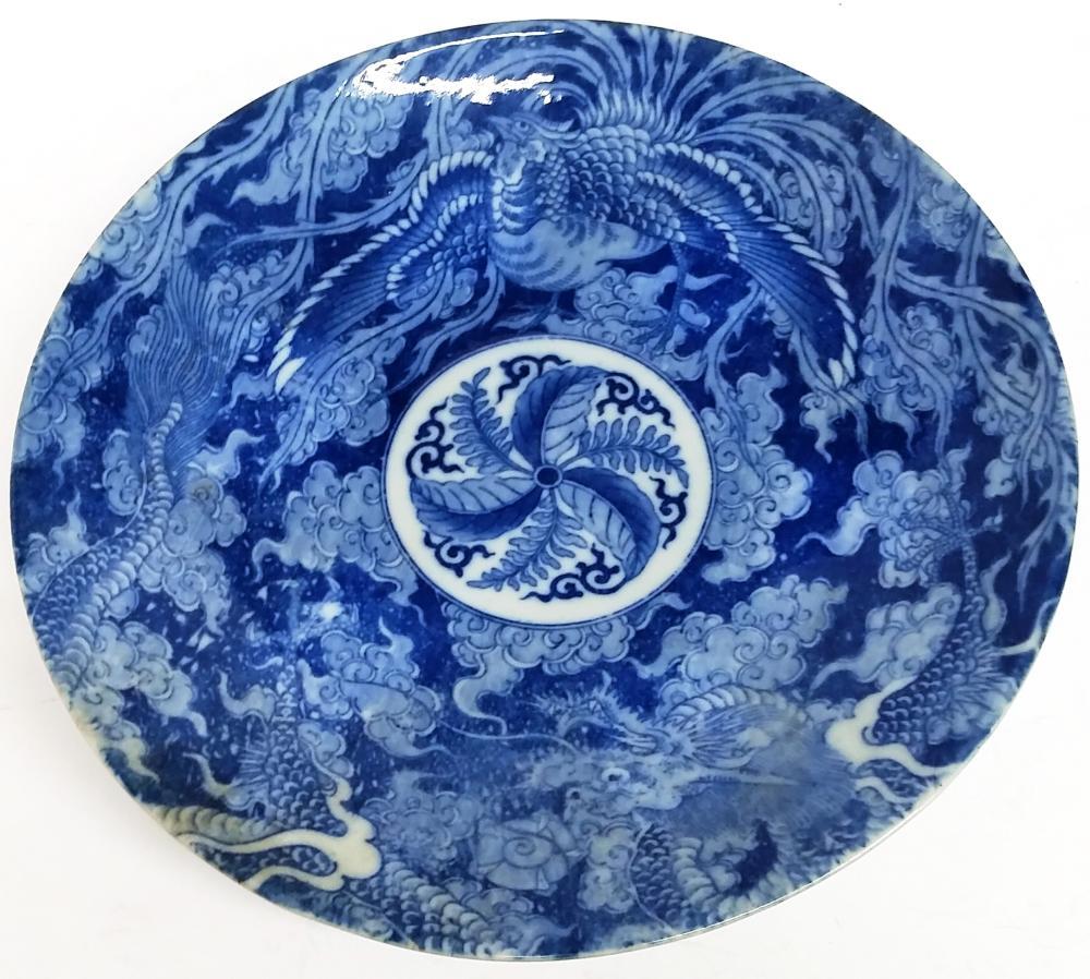 Giant Antique Japanese Imari Arita Meiji Taisho Impressed Mark Blue White Porcelain Charger Plate