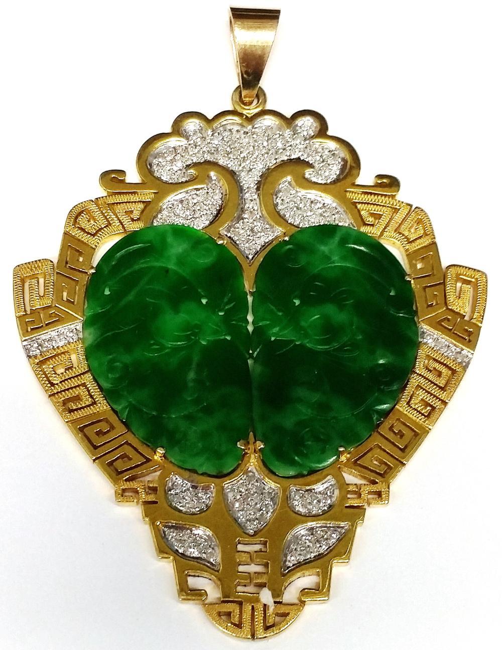 2ctw Diamond Ancient Natural Jadeite Jade In 1950s Modern 14K Gold Mounting