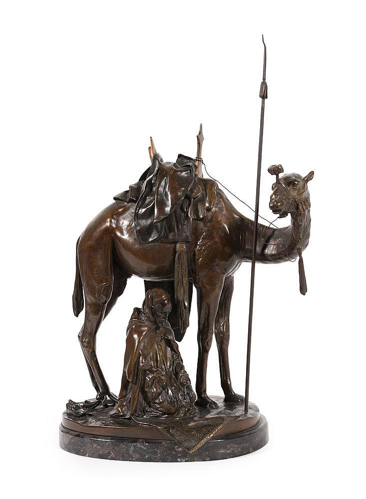 Bronze sculpture 'Praying Arab with camel'