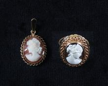 A cameo ring and pendant, mid 20th century