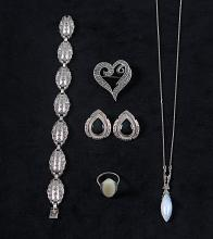 Five items of pyrite jewellery, early-mid 20th century