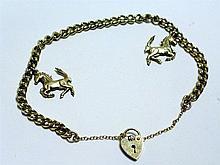 A Solid Gold Ferrari 'Prancing Horse' Charm Bracelet
