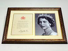 HRH Queen Elizabeth Signed Photographic Presentation