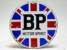 Circular BP Motor Spirit Union Jack Enamel Sign