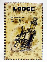A Rare Lodge Motorcycle Spark Plugs Celluloid Showcard