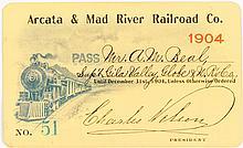 Arcata & Mad River Railroad Company Annual Pass (1904)