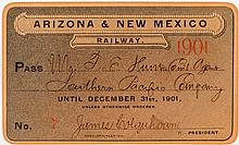 Arizona & New Mexico Railway Annual Pass (1901)