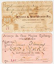 Arizona & New Mexico Railway Annual Passes (1888 & 1889)