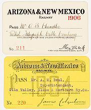 Arizona & New Mexico Railway Annual Passes (1904 & 1906)
