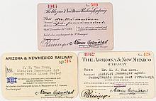 Arizona & New Mexico Railway Annual Passes (1912, 1913 & 1918)