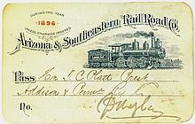 Arizona & Southeastern Railroad Co. Annual Pass (1896)