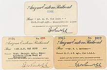 Arizona Eastern Railroad Annual Passes: 1911, 1915, and 1918