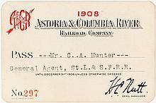 Astoria & Columbia River Railroad Company Annual Pass (1908)