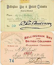 Bellingham Bay & British Columbia Railroad Co. Annual Pass Pair (1896 & 1902)