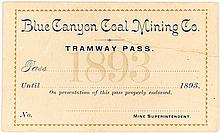 Blue Canyon Coal Mining Company Tramway Pass (1893)