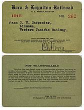 Boca & Loyalton Railroad Annual Pass (1916) (Logging Railroad)