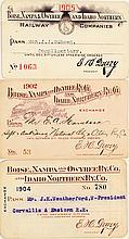 Boise, Nampa & Owyhee Railway Co. / Idaho Northern Annual Passes