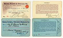 Boise, Nampa & Owyhee Railway Co. Annual Passes (1897 & 1899)