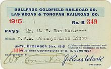 Bullfrog Goldfield Railroad Co. / Las Vegas & Tonopah Railroad Co. Pass (1915)