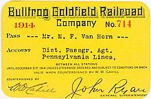Bullfrog Goldfield Railroad Co. Annual Pass (1914)