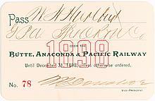 Butte, Anaconda & Pacific Railway Pass (1898)