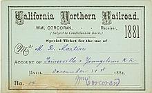 California Northern Railroad Annual Pass (1881)