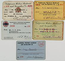 California Western Railroad & Navigation Co. Passes (5)