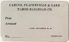 Camino, Placerville & Lake Tahoe Railroad Co. Annual Pass