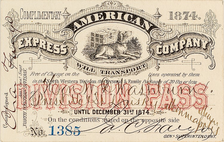 american express company pass 1874 charles fargo signatur